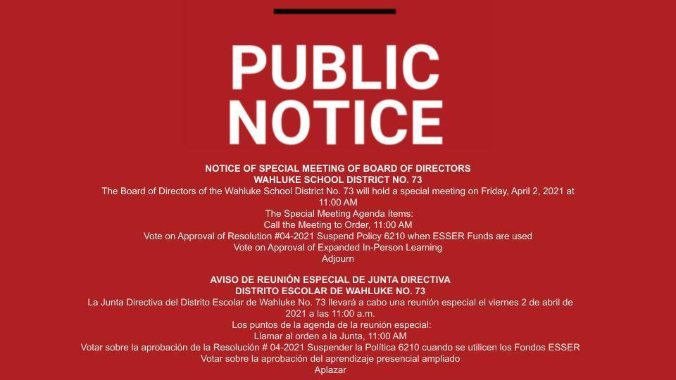 Public Notice - Special Board Meeting