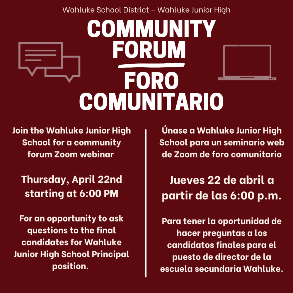 Junior High Principal - Community Forum